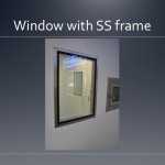 Cleanroom window with stainless steal frame